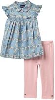 Calvin Klein Peter Pan Collar Blouse & Legging Set (Toddler Girls)
