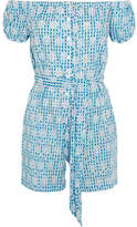 Miguelina Magda Broderie Anglaise Ginham Cotton Playsuit - Light blue