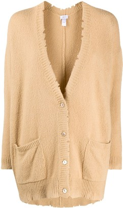 Avant Toi Distressed Finish Oversized Cardigan