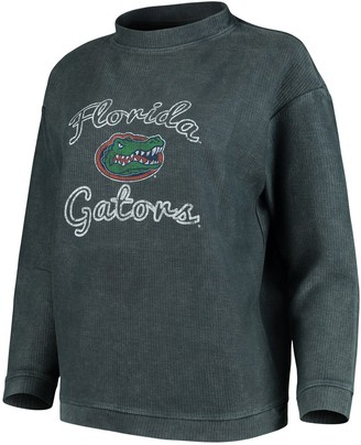 Women's Concepts Sport Charcoal Florida Gators Jetway Mineral Wash Corduroy Crew Neck Sweatshirt