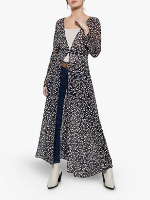 Mint Velvet Katie Floral Full Length Cover Up, Black