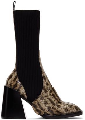 Chloé Beige Snake Bea Half-Sock Boots