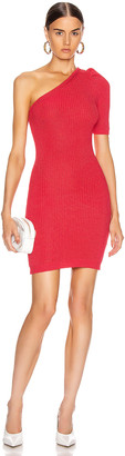 Cushnie One Shoulder Knit Mini Dress in Cerise | FWRD