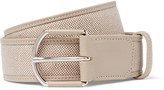 Loro Piana 3.5cm Grey Leather-Trimmed Linen Belt