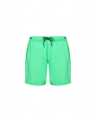 Moschino Logo Lace Nylon Beach Bermuda Shorts Man Green Size L It - (m Us)