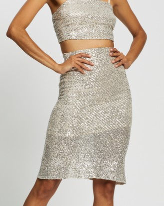 Glamorous Women's Silver Skirts - Silver Sequin Skirt - Size 8 at The Iconic