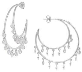 Rhona Sutton Sterling Silver Drop Crystal Crescent Hoop Earrings