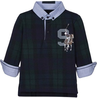 Lapin House Chest Logo Print Check Polo Shirt