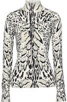 Roberto Cavalli Open-back Leopard-print Wool, Cashmere And Silk-blend Top
