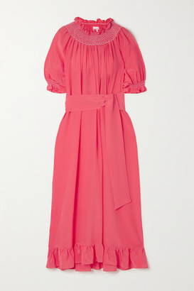 Loretta Caponi Belted Smocked Silk Crepe De Chine Nightdress - Pink