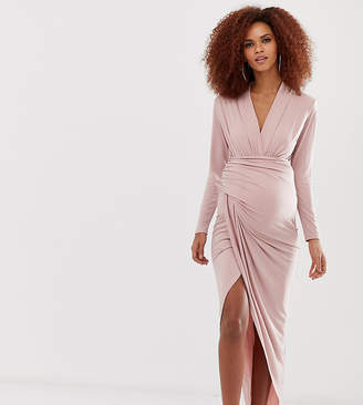 Queen Bee wrap front maxi dress in pink