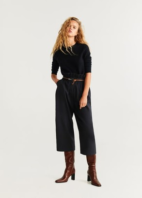 MANGO Ruched waist pants black - S - Women