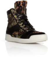 Balmain Cotton/Leather Printed Sneakers