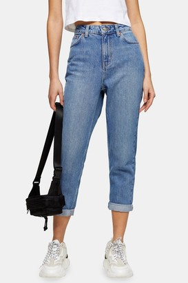 Topshop PETITE Mid Stone Mom Tapered Jeans