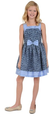 Badgley Mischka Blue Lace Skater Dress with Bow