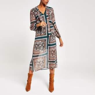 River Island Womens Green printed long sleeve waisted midi dress