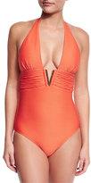 Heidi Klein Cayman Islands V-Bar Halter One-Piece Swimsuit, Red
