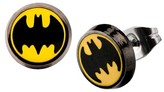 Batman DC Comics Logo Stainless Steel Round Stud Earrings - Black/Yellow