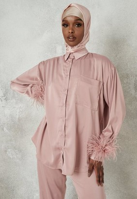 Missguided Co Ord Satin Feather Trim Shirt