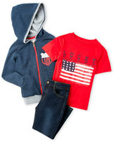 Lucky Brand Boys 4-7) 3-Piece Zip-Up Fleece Hoodie & Jeans Set