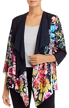 Caroline Rose Cascading Floral Georgette Draped Jacket