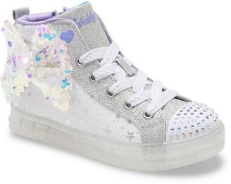 Skechers Shuffles Brites Light-Up Glitter High Top Sneaker