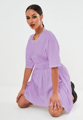 Missguided Petite Lilac Ruched Waist Mini Dress