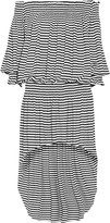 Norma Kamali Peasant off-the-shoulder striped stretch-jersey dress