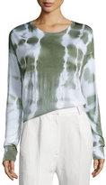 Maison Margiela Long-Sleeve Knit Batik Top, Off White/Green