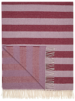 John Lewis Herringbone Stripe Wool Blend Throw, Cassis