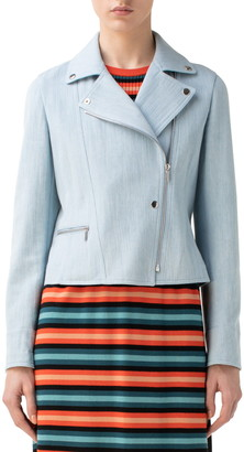Akris Punto Stretch Cotton Denim Moto Jacket