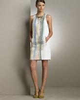 Jeweled Silk Watercolor Dress