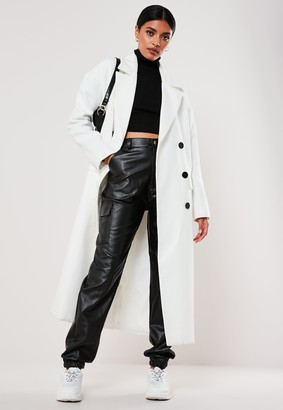 Missguided Tall White Oversized Double Breasted Midaxi Coat
