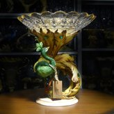 lpkone-Fruit compote creative crystal glass peacock fruit plate villa club art compote decorations