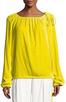 Cédric Charlier Velvet Long-Sleeve Tie-Shoulder Top, Yellow