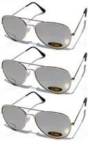 Aviator Sunglasses Silver Frame Mirror Lens 3 Pairs