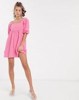 Asos Design DESIGN square neck puff sleeve smock dress in pink