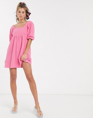 ASOS DESIGN square neck puff sleeve smock dress in pink