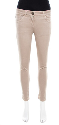 Brunello Cucinelli Beige Stretch Cotton Twill Skinny Ankle Length Trousers S