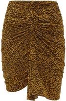 Isabel Marant Jomily Ruched Leopard-print Mini Skirt - Womens - Black Yellow