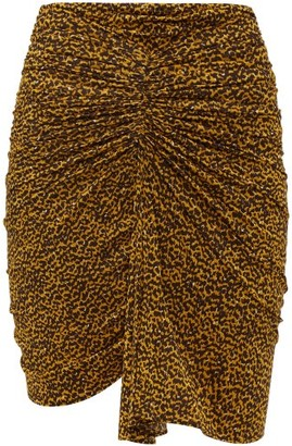 Isabel Marant Jomily Ruched Leopard-print Mini Skirt - Womens - Black Yellow