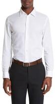 Armani Collezioni Men's Modern Fit Geometric Textured Sport Shirt