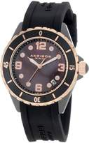 Akribos XXIV Women's AK502BKR Ceramic Case with Rose-tone Accents and Black Rubber Strap Watch