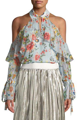 Alice + Olivia Blayne Cold-Shoulder Floral-Print Silk Blouse