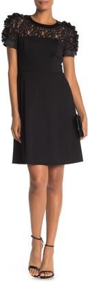 Shani Flower Trim Lace Ponte Knit Fit & Flare Dress