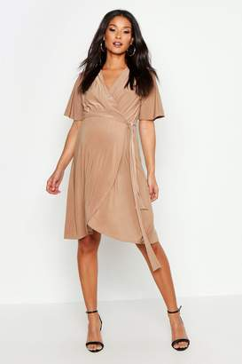 boohoo Maternity Slinky Wrap Midi Dress