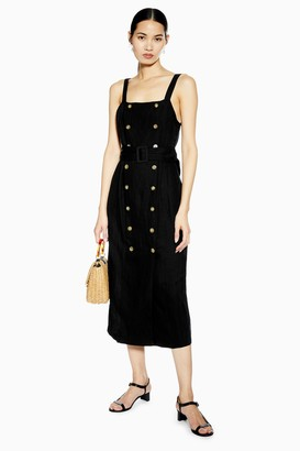 Topshop Womens Black Belted Pinafore Dress With Linen - Black