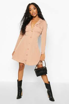 boohoo Pocket Front Skater Shirt Dress