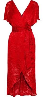 Alice + Olivia Darva Wrap-effect Fil Coupe Chiffon Midi Dress