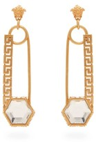 Versace Crystal-embellished Safety Pin Drop Earrings - Womens - Gold